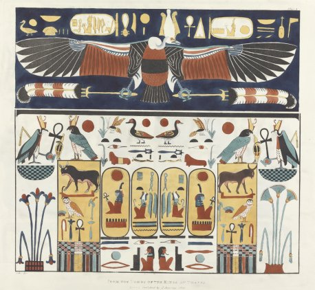 Decoration from the tomb of seti i plates illustrative of for Ancient egyptian tomb decoration